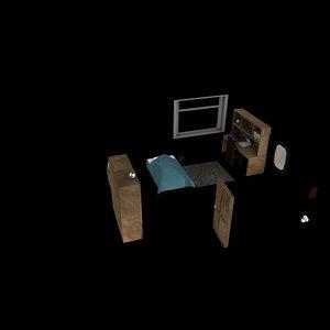 3D room bed bedroom
