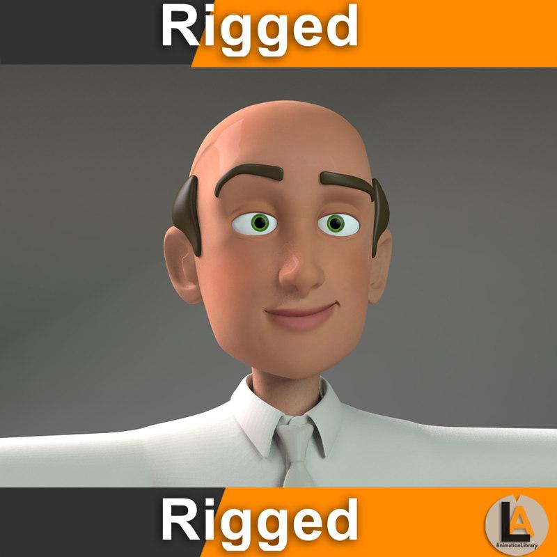 3D cartoon casual man model