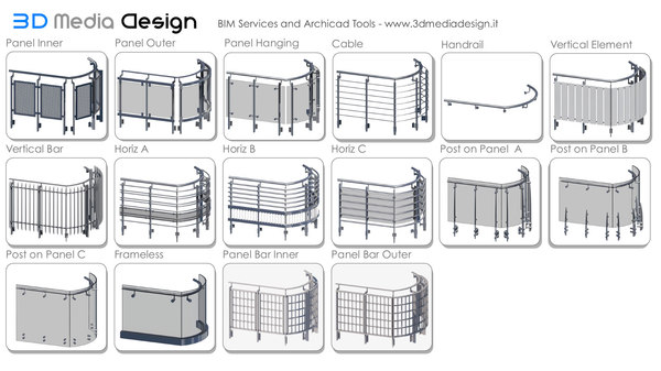 3D model archicad railing