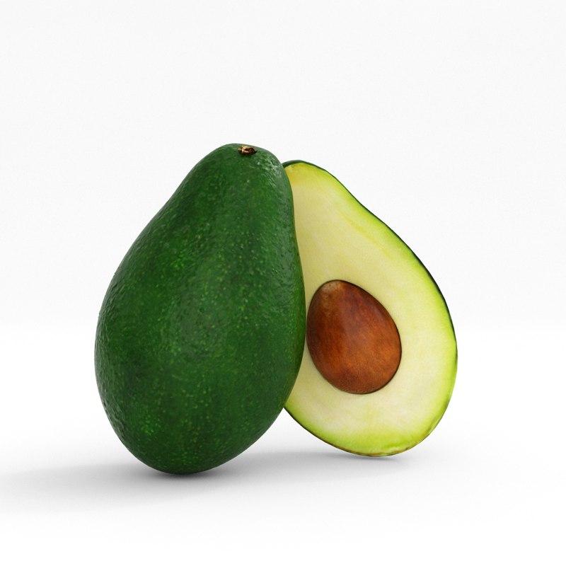 realistic avocado 3D model