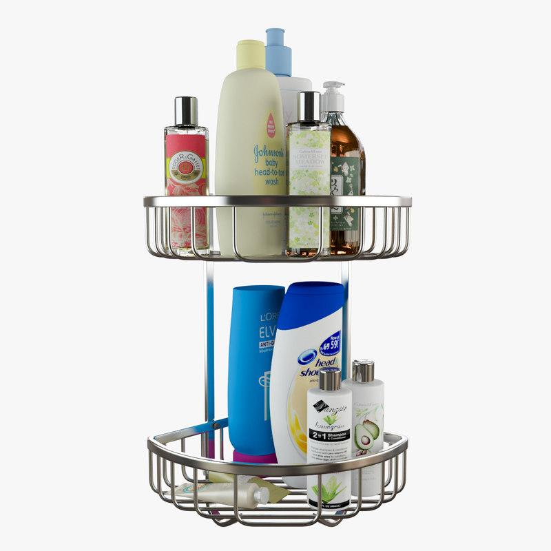 bathroom shower shelves 3D model