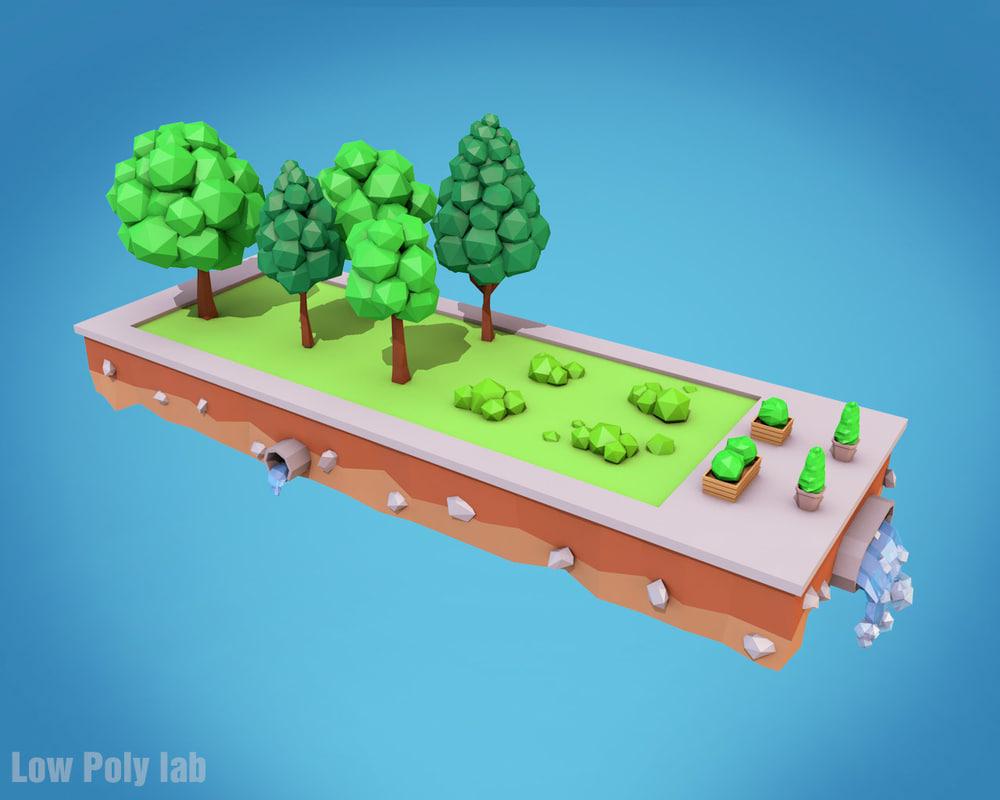 trees bushes flower model