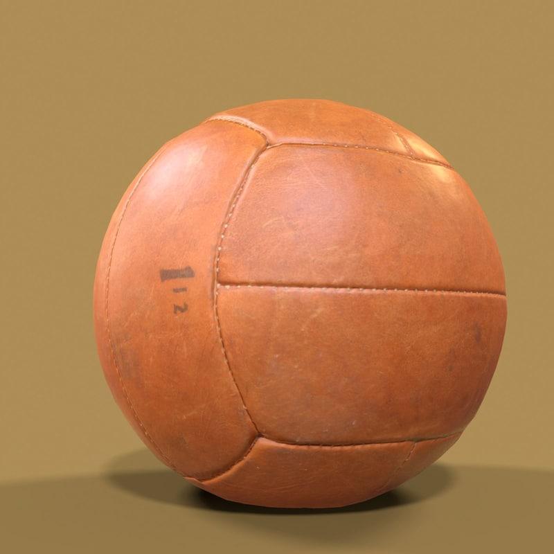 3D model leather ball basketball