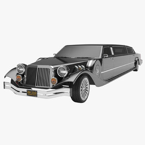photoreal stretched limousine 3D model