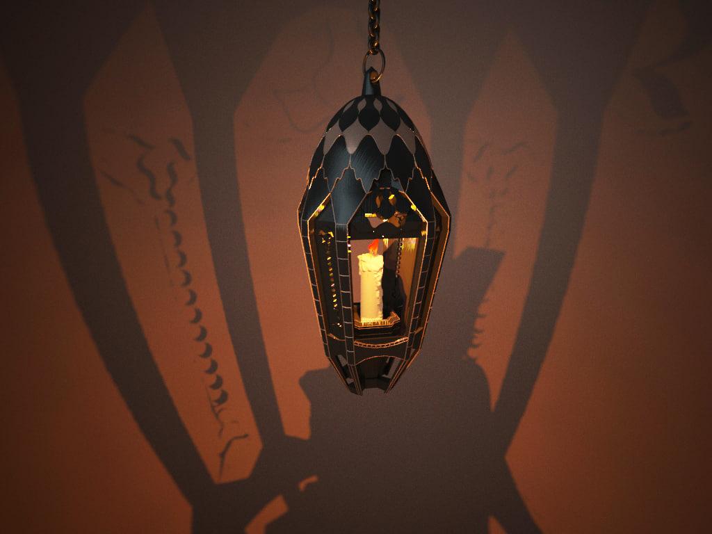 3D model arabic lantern islamic