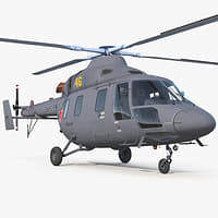Kazan Ansat Russian Light Military Helicopter 3D Model