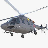 Kazan Ansat Russian Light Military Helicopter Rigged 3D Model