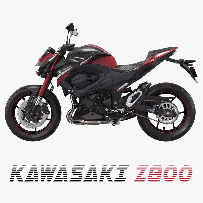 motorcycle kawasaki z800 red 3D model
