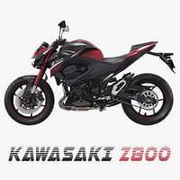 motorcycle kawasaki z800 red 3D model