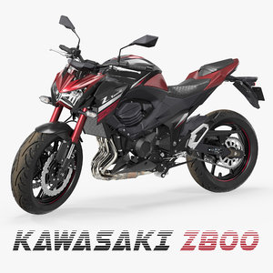 3D motorcycle kawasaki z800 red