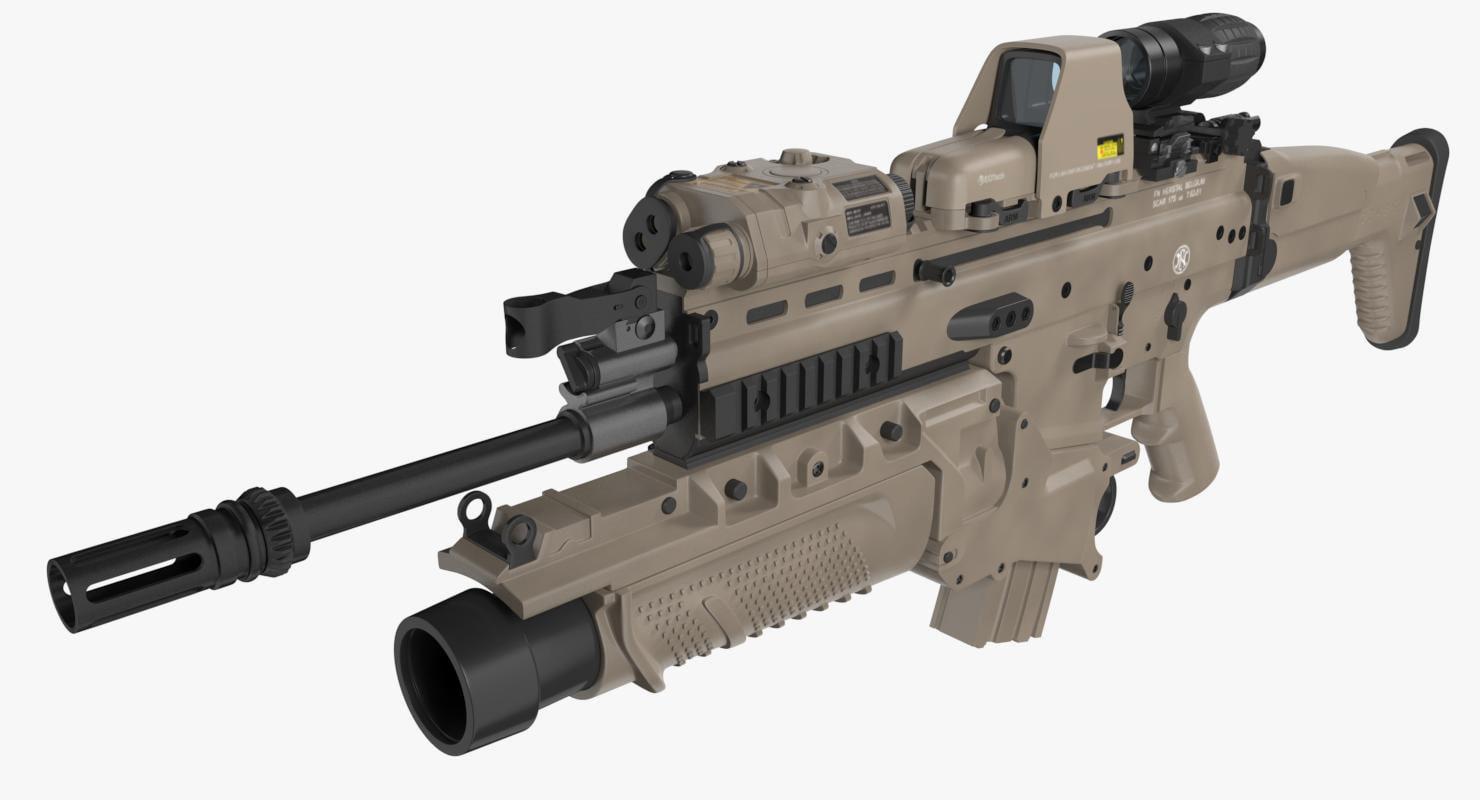Office Design Software 3d Assault Rifle Fn Scar H Model Turbosquid 1163449