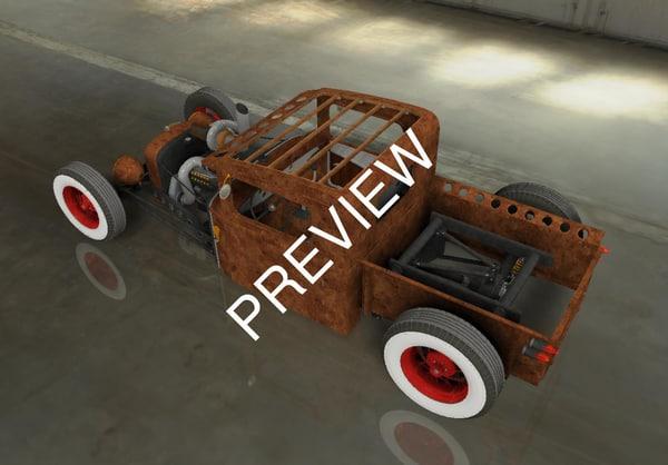 3D model rat rod pickup