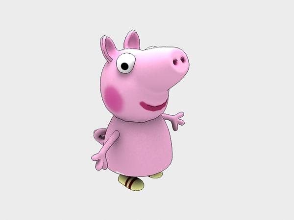3D cartoon character piggy