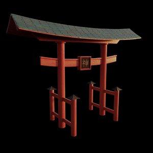 3D japanese torii pbr model