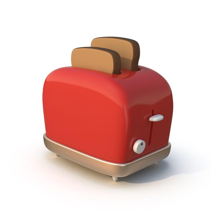 3D cartoon toaster toast model