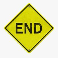 3D warning end road sign