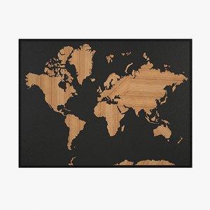 world wooden mapped 3D model