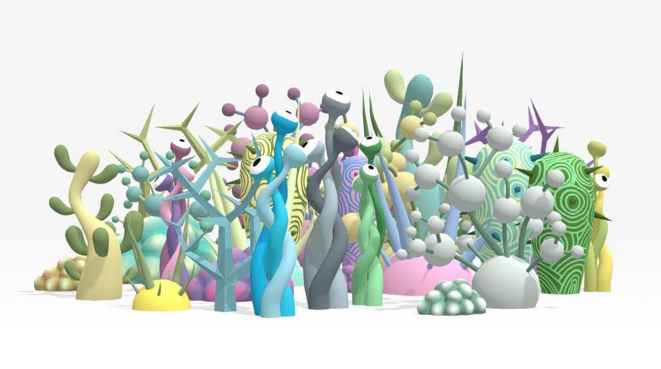 colorful plants alien 3D model