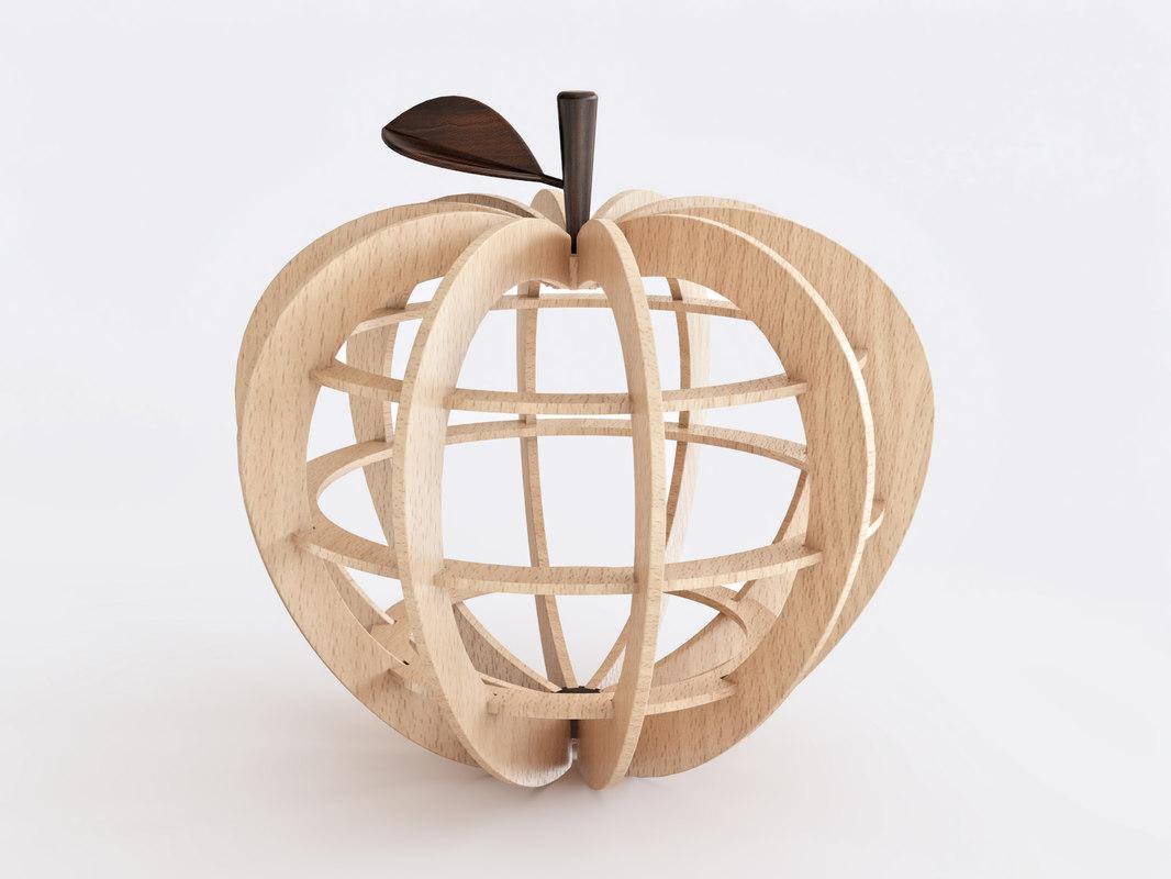 wooden apple 3D
