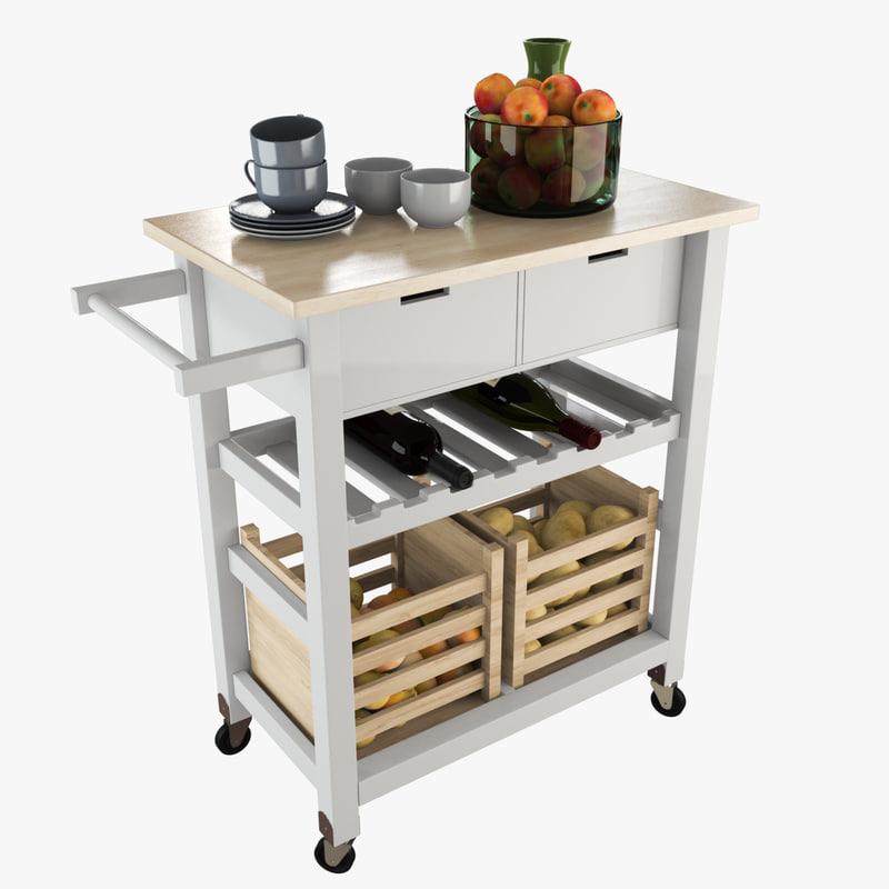 3D storage kitchen trolley