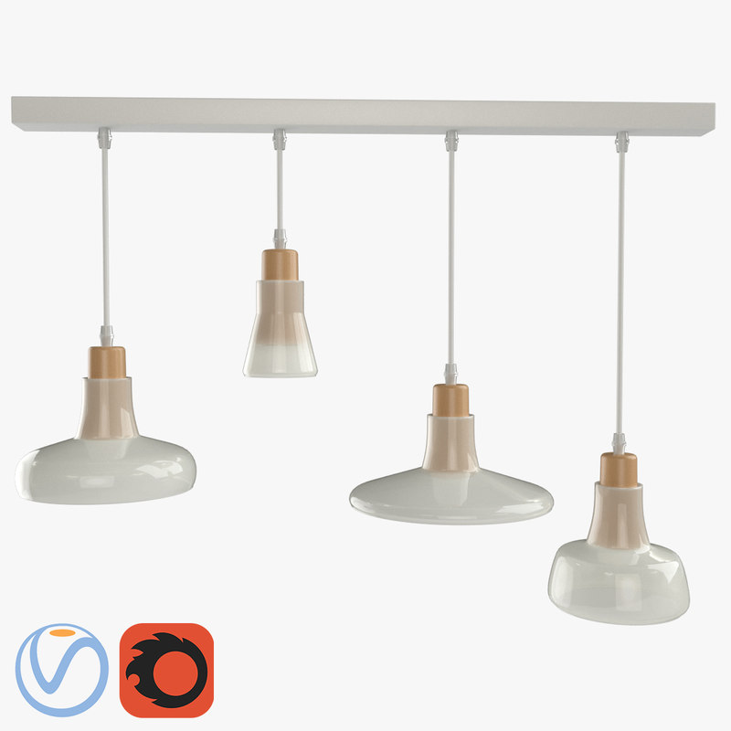modern milk glass chandelier 3D model
