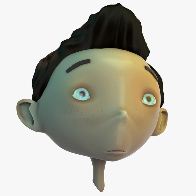 3D boy head cartoon model
