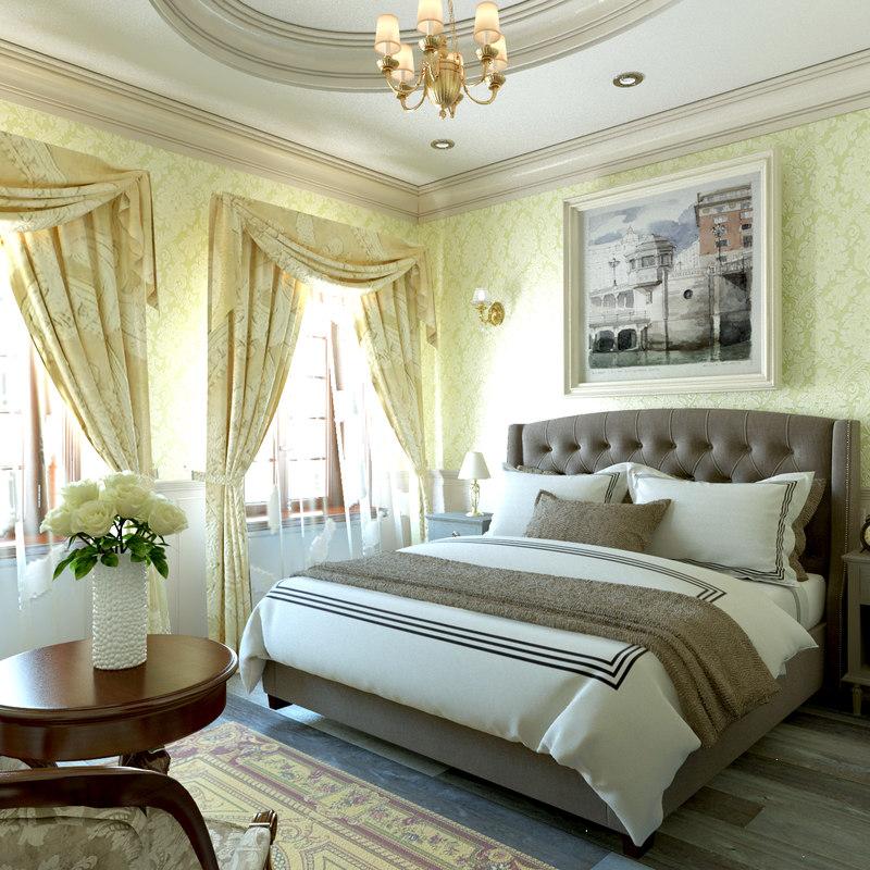 ... Classic Bedroom Design 3D Model ...