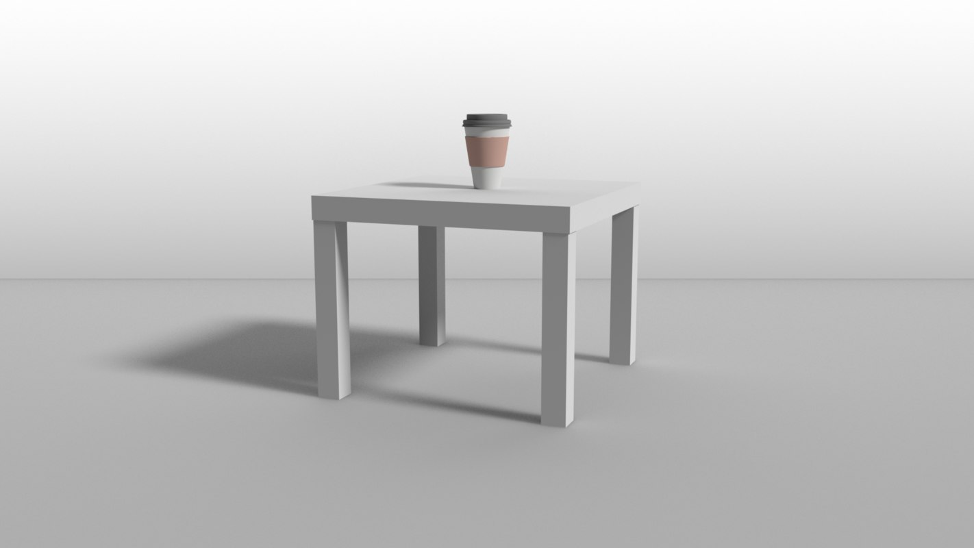 3D bedside table white