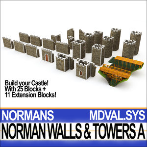 medieval norman walls towers 3D model