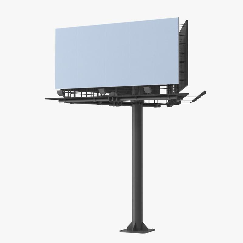 3D billboard 3 grey model