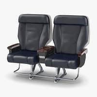 First Class Passenger Double Aircraft Seat 3D Model