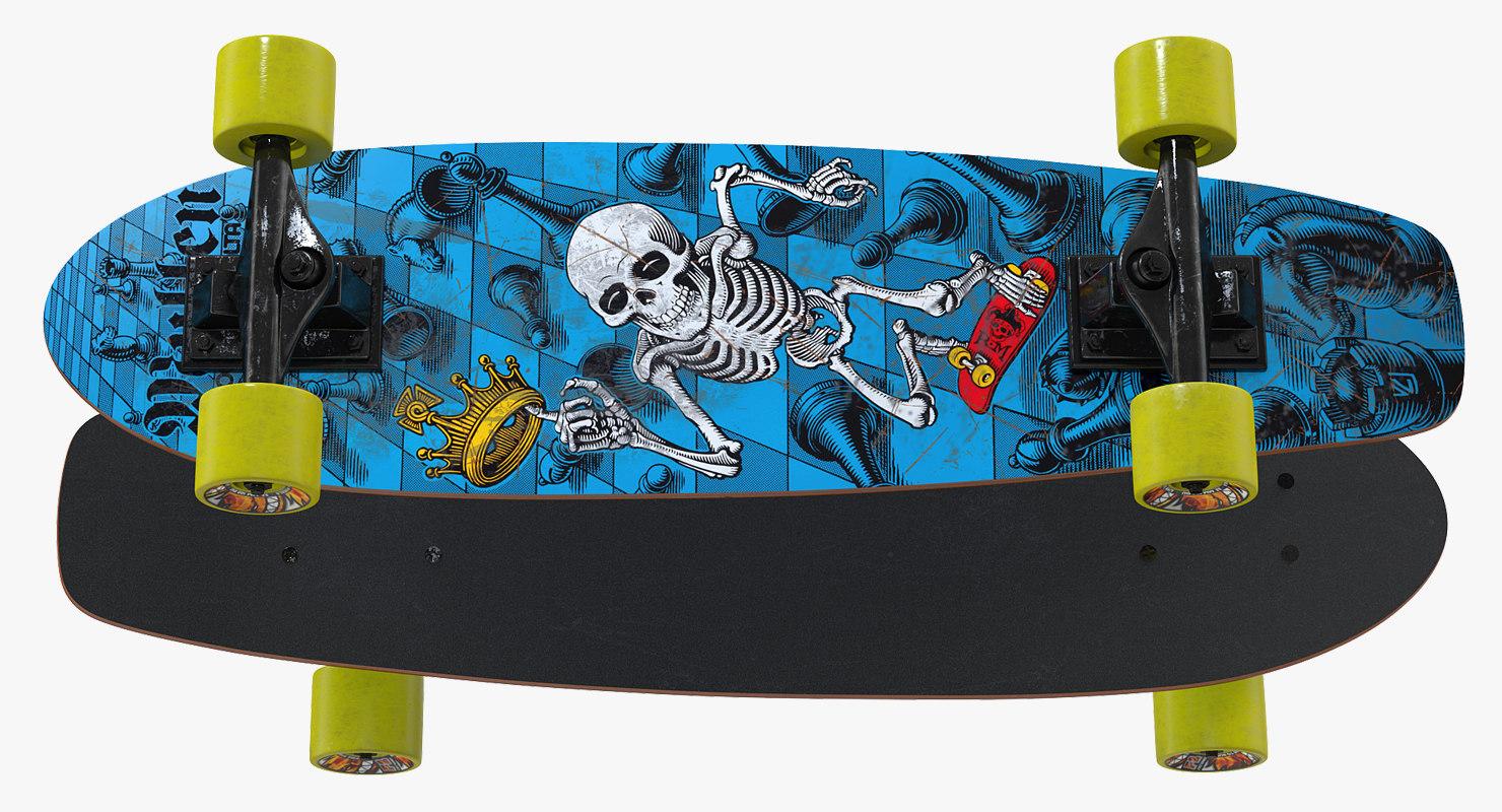kicktail skateboard 3D model