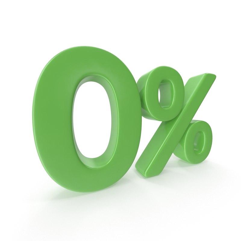 3D zero percent sign