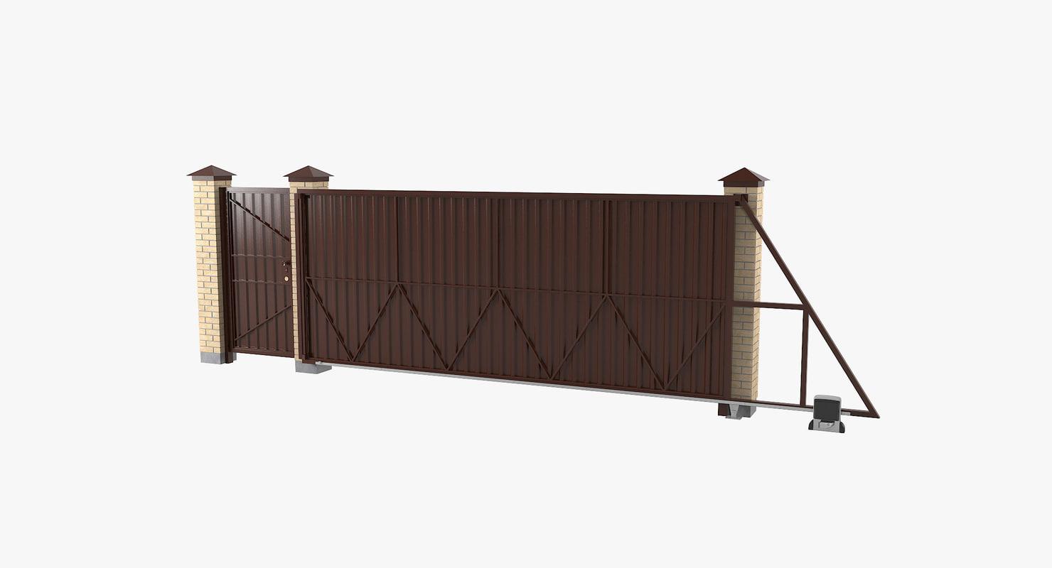 sliding driveway gates 3D