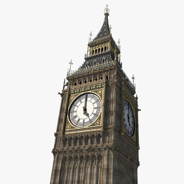 3D big ben tower elizabeth