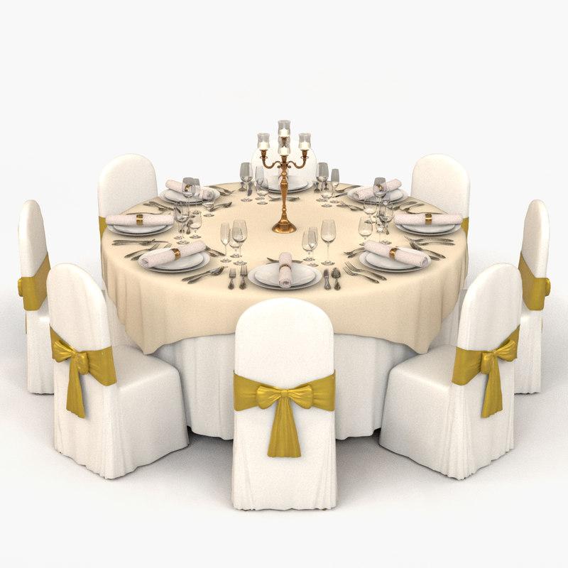 3D banquet table model