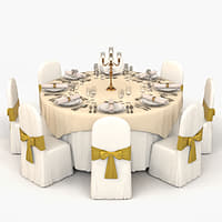 3D banquet table model