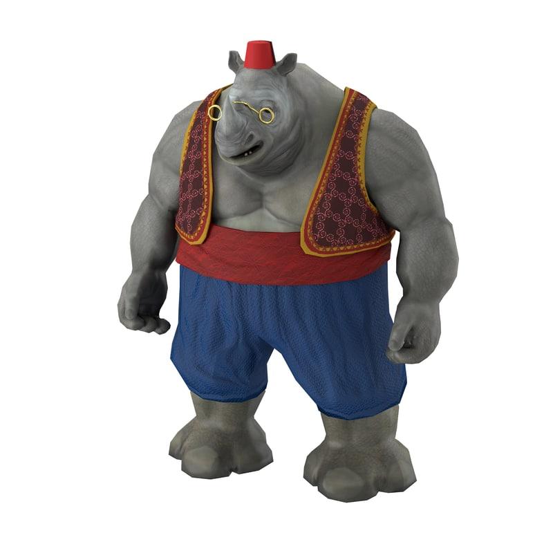 3D rhino character games model