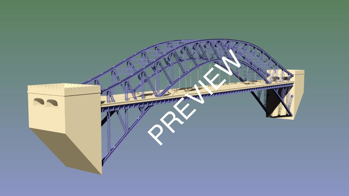 1200 suspension bridge 3D model