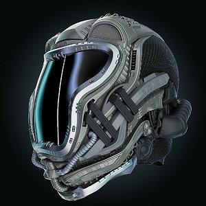 3D sci-fi helmet hd
