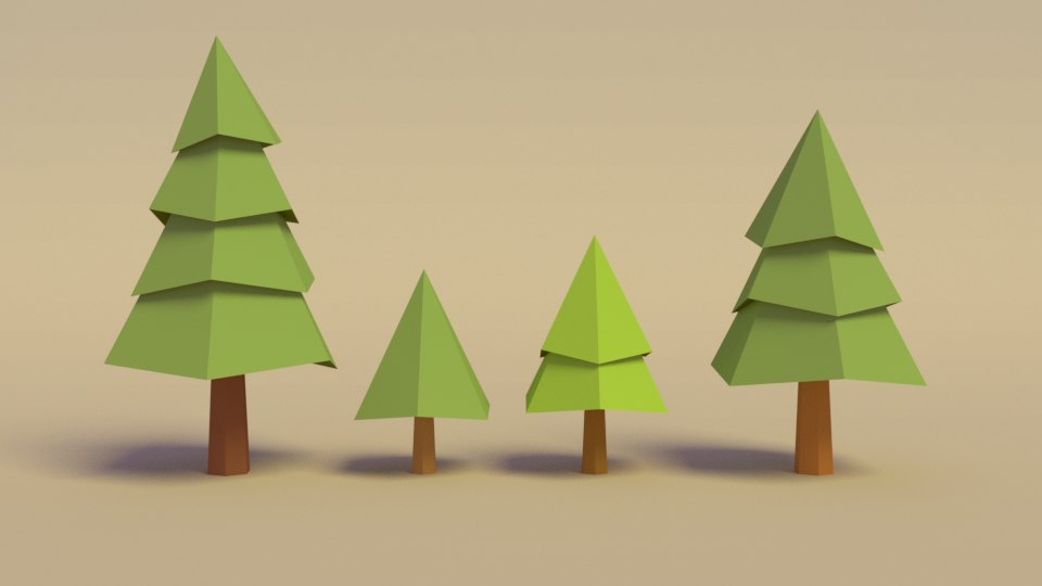 3D model cartoon pine trees