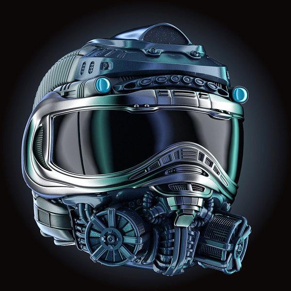 sci-fi helmet hd chemical 3D model