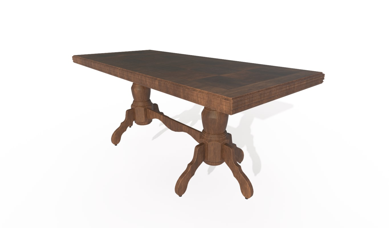 wooden dining table 3D