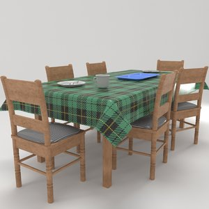 dinning table chairs 3D model