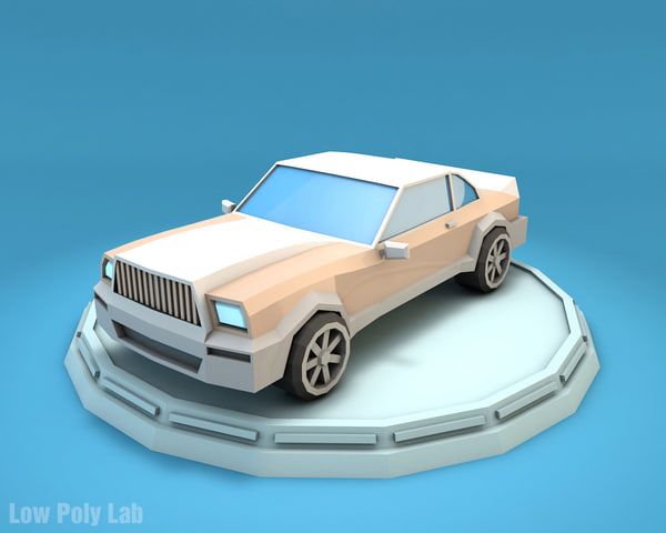 luxury car cartoon 3D model