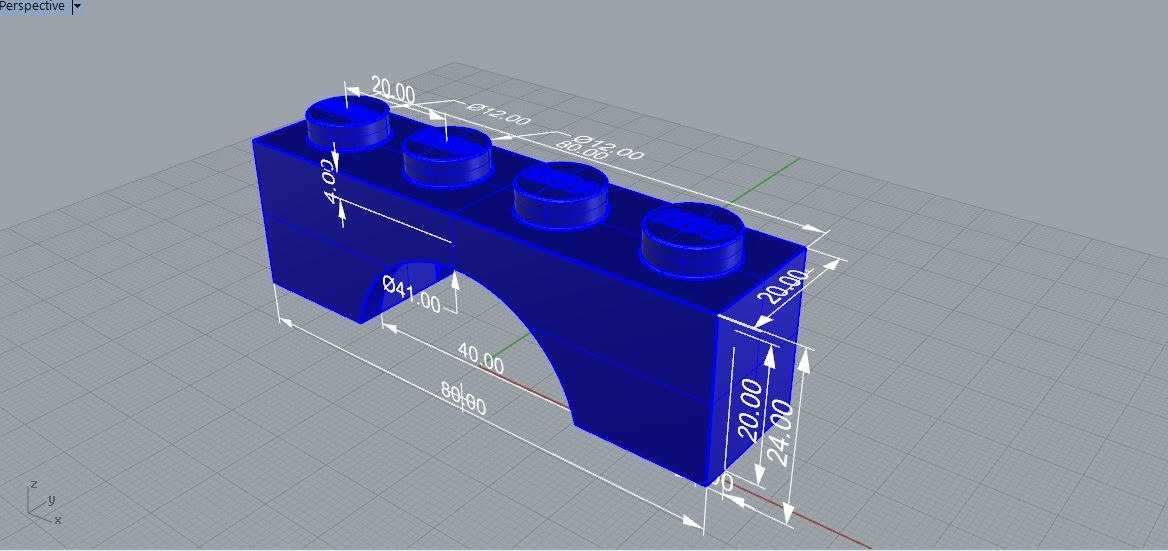 3D lego brick arch 1x4 model