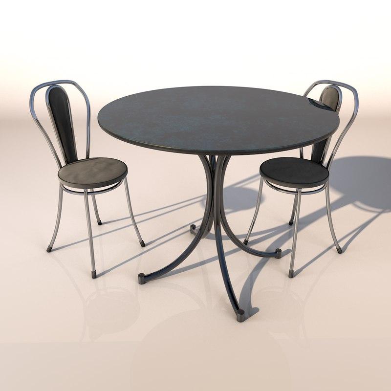 3D model set desk chair