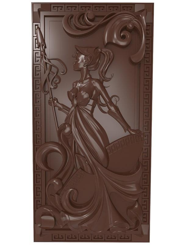 bas relief warrior girl 3D model