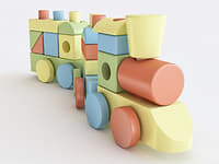 3D wooden toy train color model