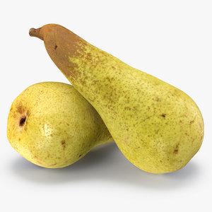 long yellow pear 3D model